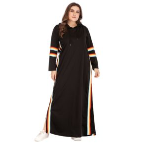 Plus Size Women Webbing Hooded Round Neck Long Sleeve Dress (Color:Black Size:XXXL)