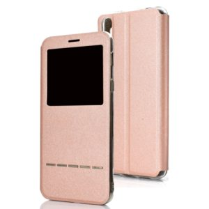 Frosted Texture Horizontal Flip Leather Case for Huawei P20 Pro, with Call Display ID & Holder(Rose Gold)