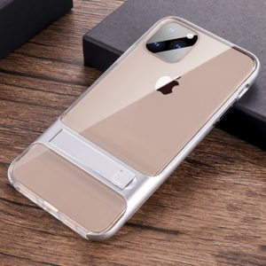 For iPhone 11 Pro Crystal Shockproof TPU + PC Case with Holder(Space Silver)