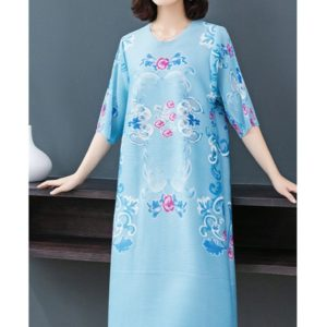 By Age Retro Print Loose A-line Dress Temperament Fat(Color:Lake Blue Size:One Size)