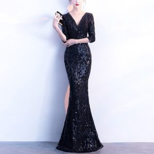 V-neck See-through Back Sequins Party Formal Dress Half Sleeve Sexy Long Evening Dresses, Size:L(Black)