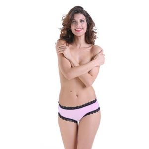 Woman Sexy Bow Detail Cage Sheer Mesh Back Panty Briefs Underwear, Size: XL(Pink) (FunAdd)