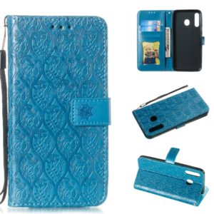 Pressed Printing Rattan Flower Pattern Horizontal Flip PU Leather Case for Galaxy M30, with Holder & Card Slots & Wallet & Photo Frame (Blue)