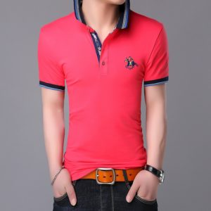 Fashionable Cotton Lapel Short-sleeve T-Shirt for Men, Size: L(Peach Red )