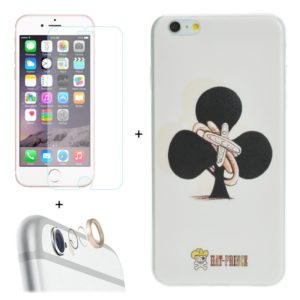 ENKAY Hat-Prince 3 in 1 Creative Character Pattern White TPU Protective Case + 0.26mm 9H+ Surface Hardness 2.5D Explosion-proof Tempered Glass Film + Metal Rear Camera Lens Protective Ring for iPhone 6 Plus & 6s Plus (ENKAY)