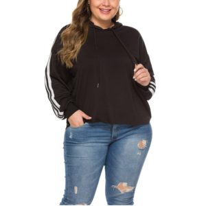 Autumn Ribbon Hooded Loose Sweatshirt (Color:Black Size:XXL)