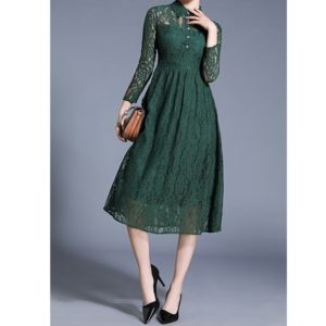 Fashion Vintage Elegant Lace Dress (Color:Green Size:XXL)