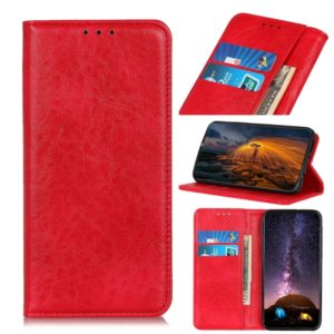 Magnetic Retro Crazy Horse Texture Horizontal Flip Leather Case for OnePlus 7, with Holder & Card Slots & Wallet (Red)