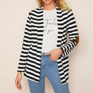 Fashion Slim Long-sleeved Striped Cardigan Thin Cotton Coat (Color:Black White Size:XL)