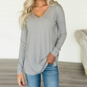 Casual Loose V-neck Solid Color Long-sleeved T-shirt, Size: XL(Gray)
