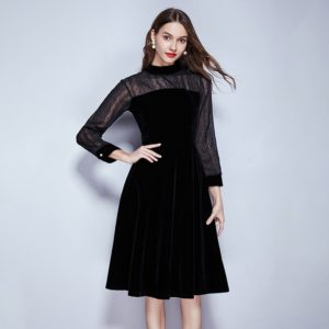 Retro Temperament Was Thin Long-sleeved Chiffon Velvet Dress (Color:Black Size:S)