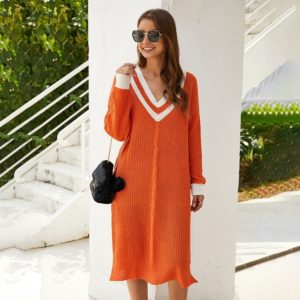 Long Section Striped V-neck Pullover Knitted Sweater Dress Loose (Color:Orange Size:M)