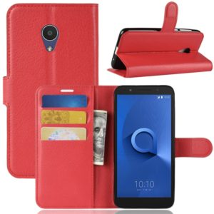 Litchi Texture Horizontal Flip Leather Case for Alcatel 1X, with Wallet & Holder & Card Slots (Red)