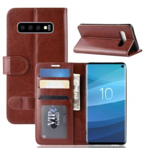 R64 Texture Single Fold Horizontal Flip Leather Case for Galaxy S10, with Holder & Card Slots & Wallet (Brown)