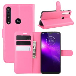For Motorola One Macro / G8 Play Litchi Texture Horizontal Flip Leather Case with Wallet & Holder & Card Slots(Rose red)