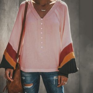 Solid Color Button Long Sleeve Trumpet Sleeves Loose V-neck T-shirt (Color:Pink Size:S)