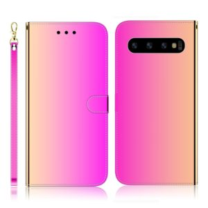 For Galaxy S10+ Imitated Mirror Surface Horizontal Flip Leather Case with Holder & Card Slots & Wallet & Lanyard(Gradient Color)