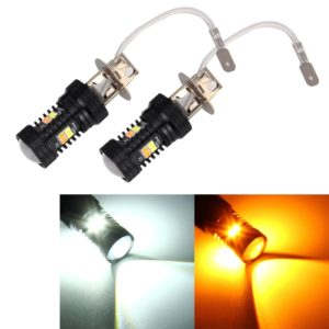 2 PCS Super Bright H3 DC 12V 5W 350LM Auto Car Fog Light with 16 SMD-3030 LED Bulbs Lamp, White + Yellow Light