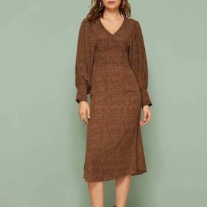 Leopard Print Balloon Sleeve Mid-length Dress (Color:Brown Size:L)
