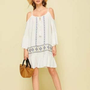 Strap Strapless Embroidered Dress (Color:White Size:M)