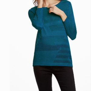 Spring and Summer Sexy Hollow Pullover Pure Color Thin Section Sweater, Size: S(Blue)