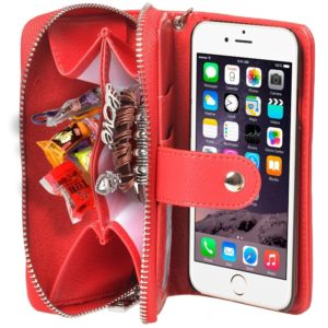 2 in 1 Separable Zipper Wallet Leather Case with Lanyard for iPhone 6 Plus & 6S Plus(Red)