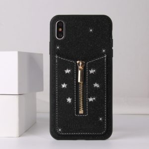 For iPhone XR Starry Sky Star Zipper Protective Case with Card Slot(Black)