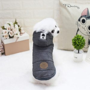 New Style Pet Dogs Clothes Moustache Both Feet Warm Plush Hooded Coat , Size: L, Bust: 42cm, Neck: 29cm(Grey)