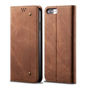 For iPhone 6 Plus / 6s Plus Denim Texture Casual Style Horizontal Flip Leather Case with Holder & Card Slots & Wallet(Brown)