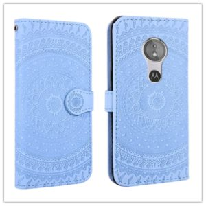 For Sony Xperia L3 Pressed Printing Pattern Horizontal Flip PU Leather Case with Holder & Card Slots & Wallet & & Lanyard(Blue)