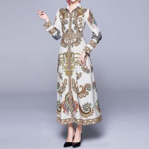 Court Style Print Long-sleeved Waist Shirt Dress (Color:White Size:XL)