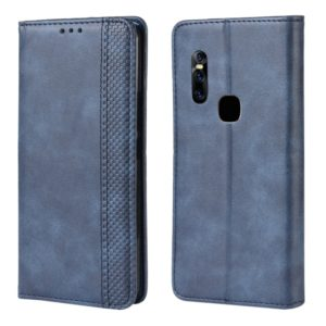 Magnetic Buckle Retro Crazy Horse Texture Horizontal Flip Leather Case for Vivo V15, with Holder & Card Slots & Photo Frame(Blue)