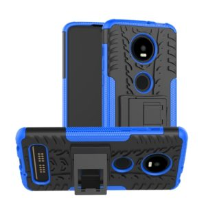 Tire Texture TPU+PC Shockproof Phone Case for Motorola Moto Z4 Play (with Fingerprint Hole), with Holder (Blue)