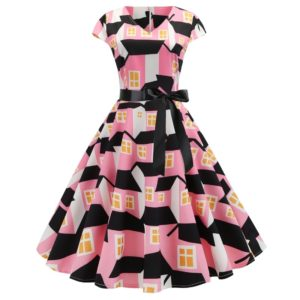 V-neck Fashion Printed Big Swing Dress (Color:Pink Size:XXL)
