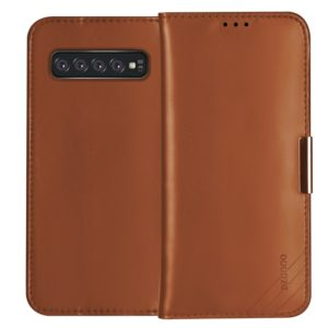DZGOGO ROYALE II Series Magnetic Horizontal Flip Genuine Leather Case for Galaxy S10 E, with Card Slots & Holder (Brown) (DZGOGO)