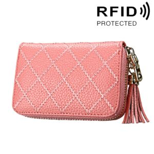 Genuine Cowhide Leather Grid Texture Zipper Card Holder Wallet RFID Blocking Card Bag Protect Case Coin Purse with Tassel Pendant & 15 Card Slots for Women, Size: 11.1*7.9*3.5cm(Pink)