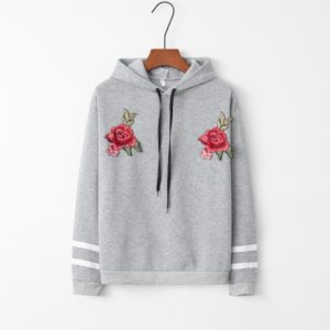 Hooded Long Sleeve Casual Loose Rose Embroidered Sweatshirt (Color:Grey Size:M)