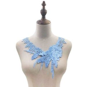 Lace Flower Embroidered Collar Fake Collar Clothing Accessories, Size: 31 x 30cm, Color:Sky Blue