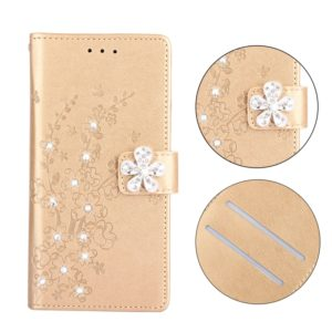 Plum Blossom Pattern Diamond Encrusted Leather Case for Galaxy S9 , with Holder & Card Slots(Plum gold)