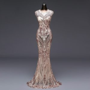 Elegant Long Sequin Evening Robe Longue Prom Gowns Dress, Size:S (Gold)