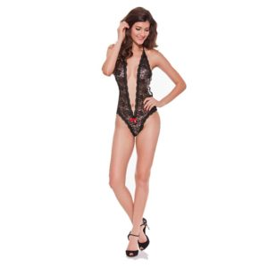Women Sexy Lace Floral Deep V Halter Lingerie See-through Bodysuit Underwear, Size: XL(Black) (FunAdd)