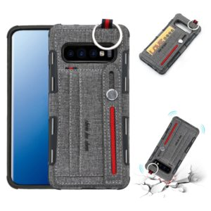 For Galaxy S10+ Cloth Texture + TPU Shockproof Protective Case with Metal Ring & Holder & Card Slots & Hanging Strap(Grey)