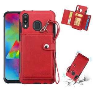 For Galaxy M20 Shockproof PC + TPU Protective Case, with Card Slots & Wallet & Photo Frame & Lanyard(Red)