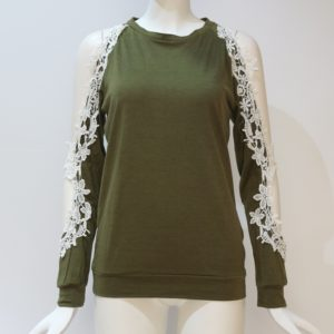 Round Neck Hollow Strapless Lace Stitching Long-sleeved T-shirt, Size: S(Army Green)
