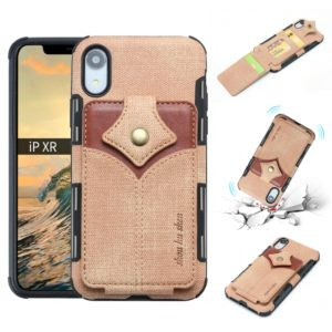 For iPhone XR Cloth Texture + PU + TPU Shockproof Protective Case with Card Slots(Khaki)