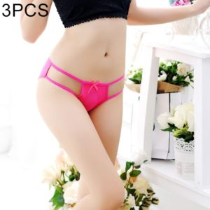 3 PCS FunAdd Women New Style Sexy Gauze Straps Bowknot Hollow Thongs Low-waisted Enticing Panties, Free Size (Magenta) (FunAdd)