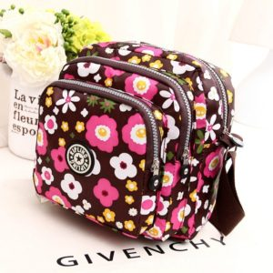 Women Shoulder Bag Waterproof Nylon Handbag Multilayer Crossbody Bag(Colorful flora)