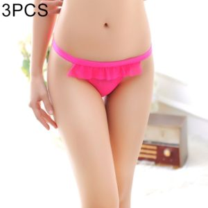 3 PCS FunAdd Women New Style Straps Sexy Bowknot Transparent Thongs Low-waisted Enticing Panties, Free Size (Magenta) (FunAdd)