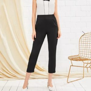 Fashion Slim Casual Pants Seventh (Color:Black Size:M)