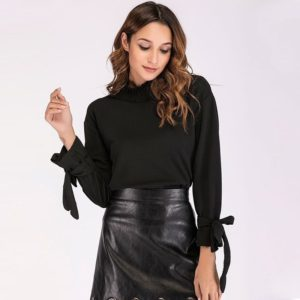 Stand Collar Pleated Solid Color Long Sleeve Lace Up Shirt (Color:Black Size:S)